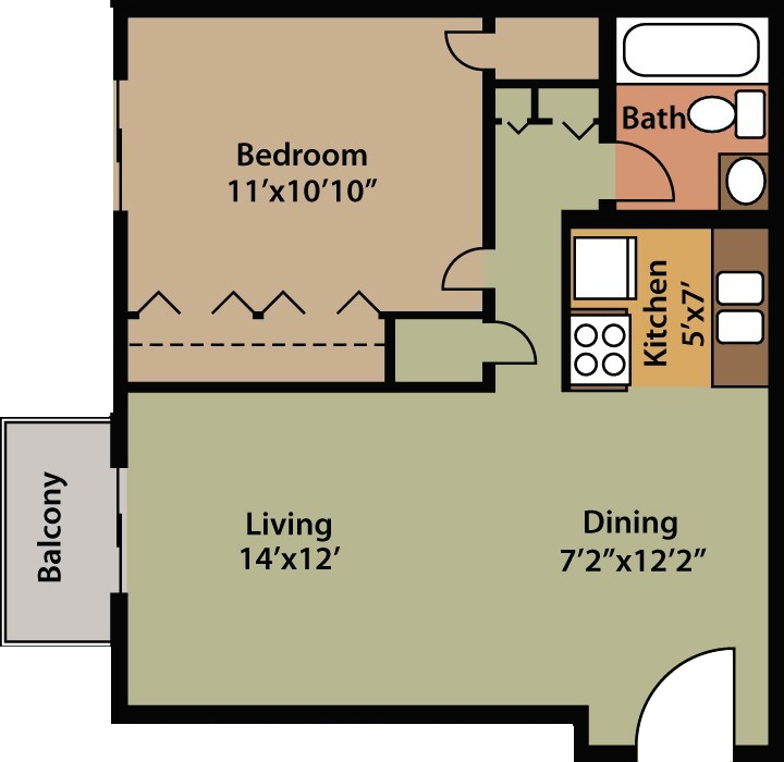 Floor Plan 1 Bedroom Waterstone Property Management